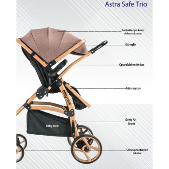 Baby Care Astra Safe Trio Travel Sistem Bebek Arabası Black Antrasit