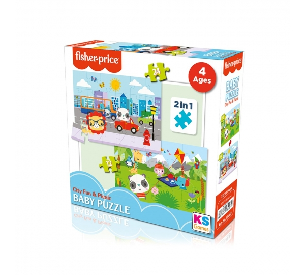 FP 13407 Fisher Price Baby Puzzle City Fun Picnic 2In1